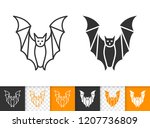 bat black linear and silhouette ... | Shutterstock .eps vector #1207736809