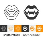 vampire teeth black linear and... | Shutterstock .eps vector #1207736830