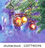 colorful christmas background...   Shutterstock . vector #1207740196