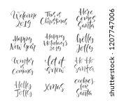 set of hand drawn word. brush... | Shutterstock .eps vector #1207747006