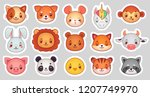 animals face stickers. cute... | Shutterstock .eps vector #1207749970