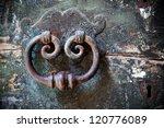 Antique Door Knocker On Old...