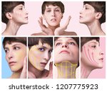 the young female face.... | Shutterstock . vector #1207775923