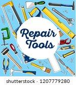 repair tools banner in hand... | Shutterstock .eps vector #1207779280