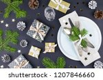 christmas table setting with... | Shutterstock . vector #1207846660