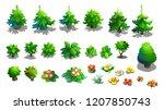 set of vector trees  spruce ... | Shutterstock .eps vector #1207850743