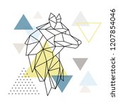 geometric wolf silhouette on... | Shutterstock .eps vector #1207854046