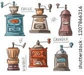 set illustration with vintage... | Shutterstock .eps vector #1207866316