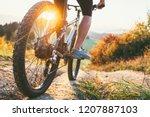 mountain biker ride down from... | Shutterstock . vector #1207887103