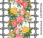 vintage seamless pattern with... | Shutterstock . vector #1207895536