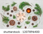 christmas decor with pine tree... | Shutterstock . vector #1207896400
