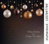 christmas garland with ball and ... | Shutterstock .eps vector #1207897789