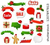 christmas ribbon set with... | Shutterstock .eps vector #1207897813