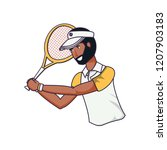 man tennis playing with racket... | Shutterstock .eps vector #1207903183