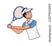 man tennis playing with racket... | Shutterstock .eps vector #1207903393