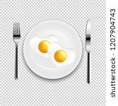 plate with fried egg heart fork ... | Shutterstock . vector #1207904743