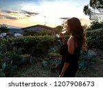 Girl Drinking Wine Watching Sunset - Fine Art prints
