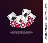casino poker aces cards dices... | Shutterstock .eps vector #1207910596