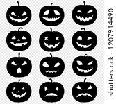silhouette of pumpkin set... | Shutterstock . vector #1207914490