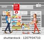 shopping on supermarket sale... | Shutterstock .eps vector #1207934710