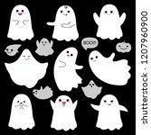 cute ghosts icons on black... | Shutterstock .eps vector #1207960900