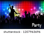 concert rock performer cheerful ... | Shutterstock .eps vector #1207963696