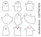 cute ghosts with smiley face on ... | Shutterstock .eps vector #1207967626