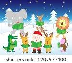 white christmas  the animals... | Shutterstock .eps vector #1207977100