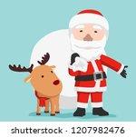 santa claus with reindeer ... | Shutterstock .eps vector #1207982476