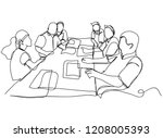 continuous line drawing of an... | Shutterstock .eps vector #1208005393