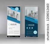 blue roll up banner stand... | Shutterstock .eps vector #1208012683