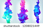 vector set of abstract facet 3d ...   Shutterstock .eps vector #1208021449