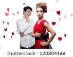 young caucasian brunette couple.... | Shutterstock . vector #120804166