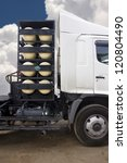 CNG/NGV gas containers for heavy truck , alternative fuel - stock photo