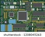 printed circuit board  various... | Shutterstock .eps vector #1208045263