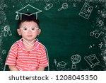 asian kid imagine his graduated ... | Shutterstock . vector #1208045350
