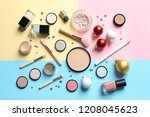 flat lay composition with... | Shutterstock . vector #1208045623