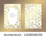elegant golden cards with... | Shutterstock . vector #1208048230
