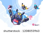 skydivers group flying in the... | Shutterstock .eps vector #1208053963