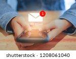 woman hand using smartphone got ... | Shutterstock . vector #1208061040