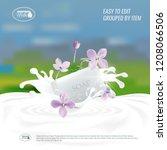 vector soap with milk splash.... | Shutterstock .eps vector #1208066506