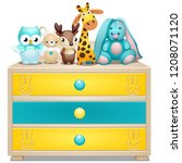 childrens chest of drawers with ... | Shutterstock .eps vector #1208071120