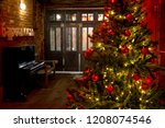 tree with garland and red balls ... | Shutterstock . vector #1208074546