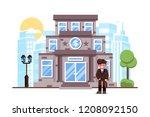 businessman standing bank... | Shutterstock .eps vector #1208092150