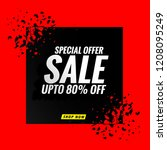 sale banner red modern design | Shutterstock .eps vector #1208095249