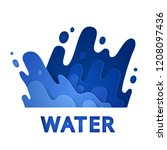 splashing water with drops.... | Shutterstock .eps vector #1208097436