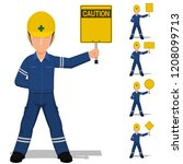 set of worker is holding blank... | Shutterstock .eps vector #1208099713