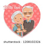 old man hugged in heart shape ... | Shutterstock .eps vector #1208102326