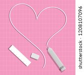 pink background.heart white and ... | Shutterstock .eps vector #1208107096