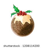 christmas pudding watercolor...   Shutterstock . vector #1208114200